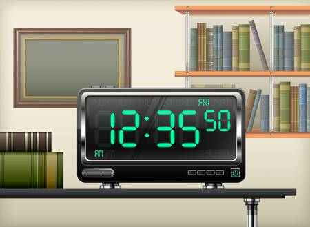 digital clock on desk, books shelves interior, vector illustration Stock Vector - 20242248
