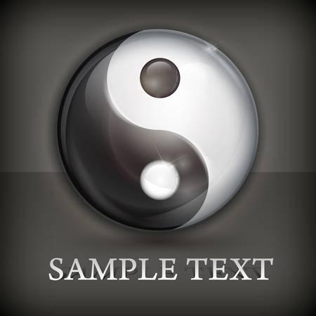 yan: Yin yang symbol isolated on black, vector illustration Illustration
