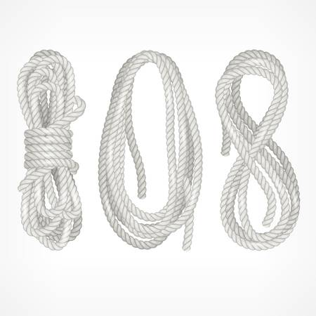 bobina: Bobinas de diferente cuerda aislados en blanco, ilustración vectorial