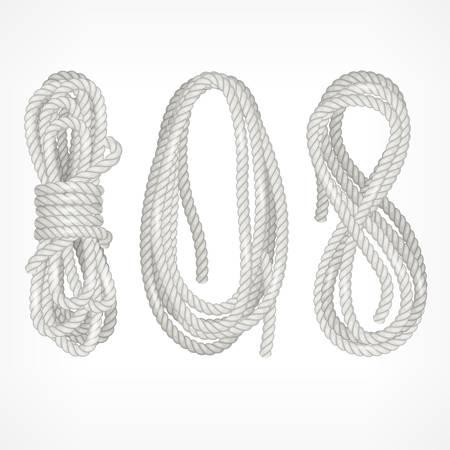 spirale: Spulen von verschiedenen Seil isoliert auf weiß, Vektor-Illustration