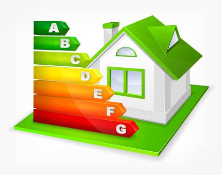 energy rating: Energy efficiency rating color with green house Illustration