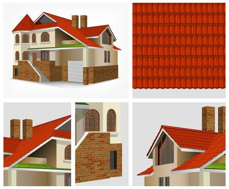 two story: Details of house with red roof tiles in section