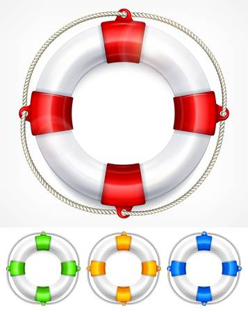 life ring: Color life buoy with rope isolated on white background Illustration