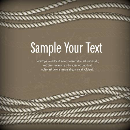cordage: Set of ropes on brown background and text