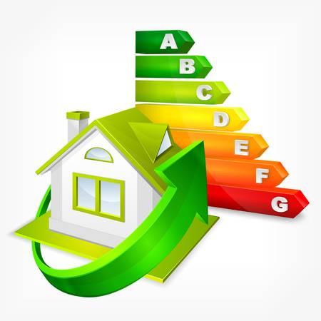 eficiencia energetica: Calificaci�n de eficiencia energ�tica del color con las flechas y la casa, ilustraci�n vectorial Vectores