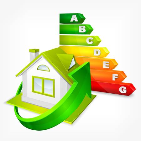 Energie-efficiëntie rating kleur met pijlen en huis, vector illustratie