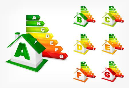 classification: Different energy efficiency rating color and house, vector illustration Illustration