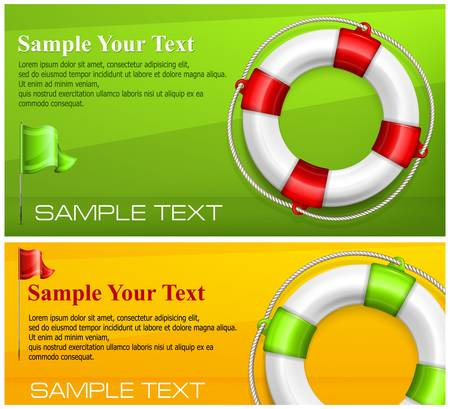 sos: Life buoy with rope on color background, vector illustration