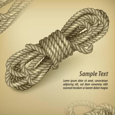 bobina: Bobina de la cuerda en el antiguo fondo marrón y el texto, ilustración vectorial
