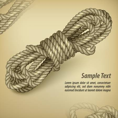 Coil of rope on old brown background and text, vector illustration Иллюстрация