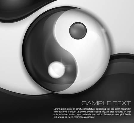 ying yan: Yin yang symbol isolated on white black background, vector illustration  Illustration