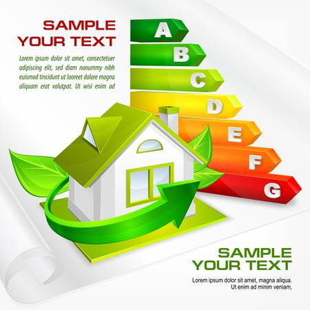 save energy: Energy efficiency rating with arrows and house   text, illustration Illustration