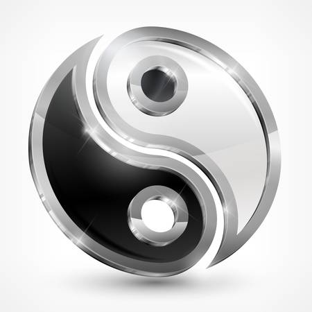 yin y yan: Yin yang símbolo metálico aislado en blanco, ilustración