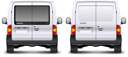 white truck: Minivan car rear view on white, illustration Illustration