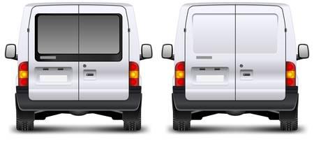 camioneta pick up: Minivan vista trasera del coche en blanco, ilustración