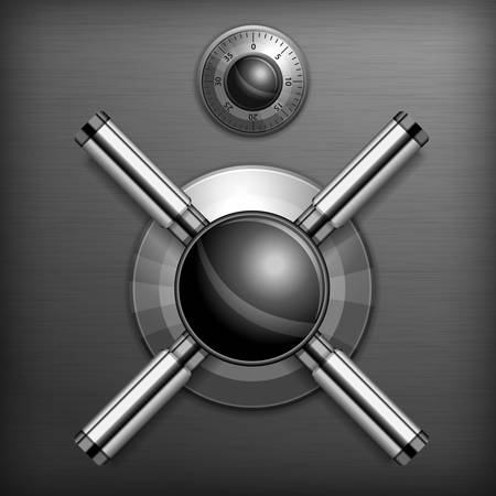 Safe combination lock wheel background, illustration  Vector