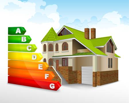 energy save: Energy efficiency rating color with big house, illustration