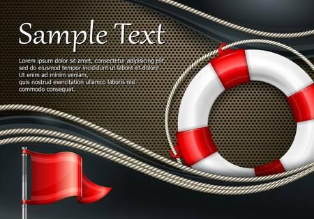 mash: Life buoy with rope & flag on mash background, illustration