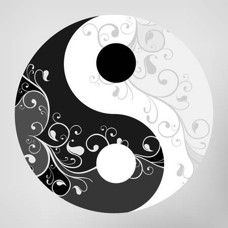 yin et yang: Yin yang motif symbole sur fond gris, illustration Illustration