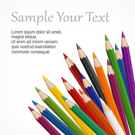 coloured pencils: Many colored wooden pencils   text on white, vector illustration