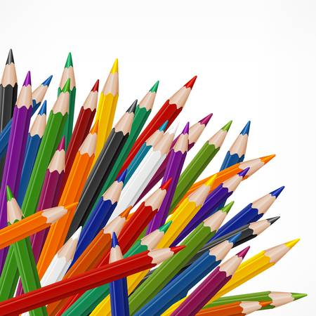 Vele gekleurde houten potloden op wit, vector illustratie