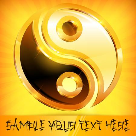 Yin yang gold symbol isolated on yellow and text, vector illustration Vector