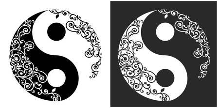 yin y yang: Yin yang dos patrones símbolo aislado en blanco, ilustración vectorial