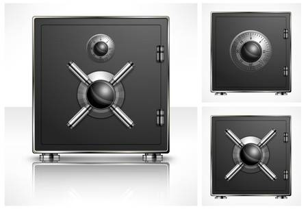 combination safe: Metal square safe with combination lock, vector illustration