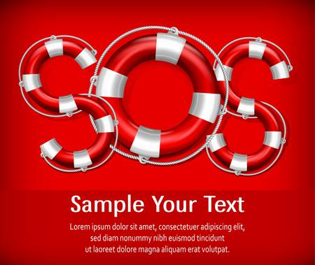 sos: SOS symbol of life buoys on red background, vector illustration