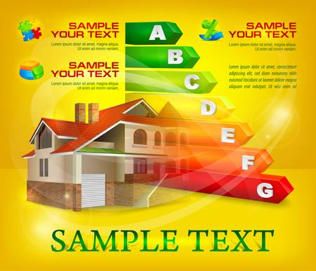 classify: Energy efficiency rating with big house on yellow & text, vector illustration