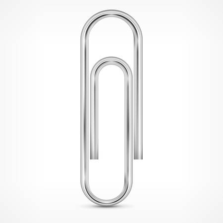 Metallic paperclip isolated on white background, vector illustration Illustration