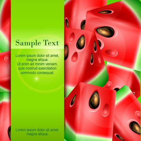 Banner with watermelon and text, fruits design, vector illustration Vector
