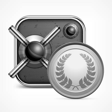 Safe icon with combination lock and coin Vector