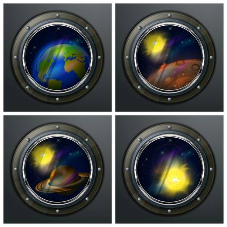 Four round portholes to open space, planets, sun and star Stock Vector - 21933508