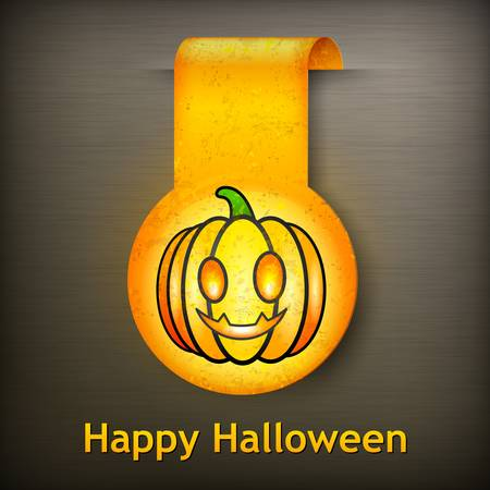 grimace: Halloween sticker yellow grimace pumpkin on black illustration