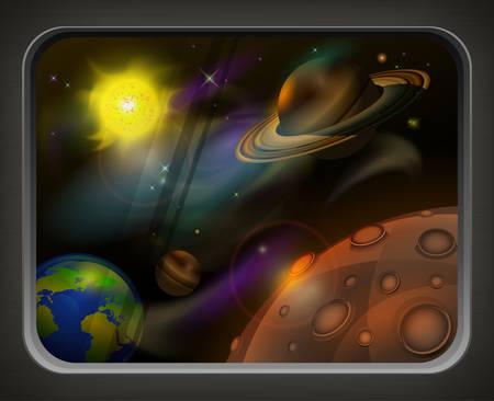 astral body: Vista desde la ventana para abrir el espacio, los planetas, el sol y la estrella Vectores
