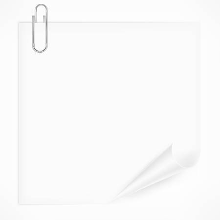 Metallic clip on white paper sheet Stock Vector - 22285826