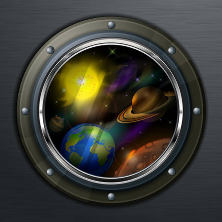 Round porthole to open space, planets, sun and star, vector illustration Vector