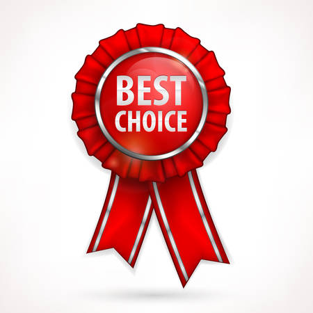 Red award label best choice with ribbon isolated on white, vector illustration Stock Vector - 22730925