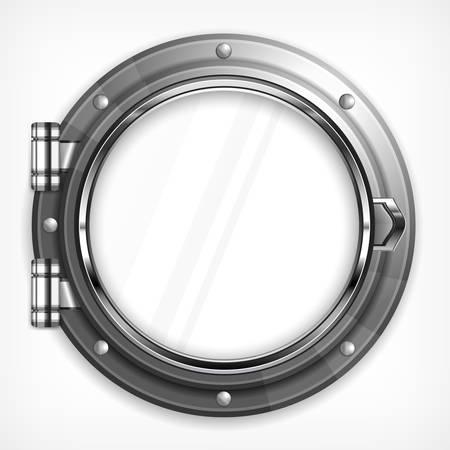 submarino: Barco marino ojo de buey redondo aislado en blanco, ilustración vectorial
