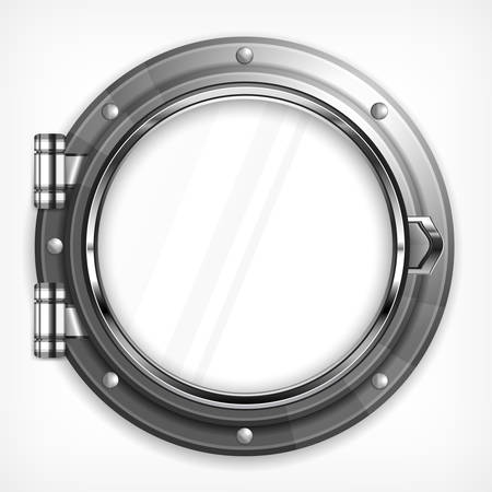 Boat round porthole seascape isolated on white, vector illustration