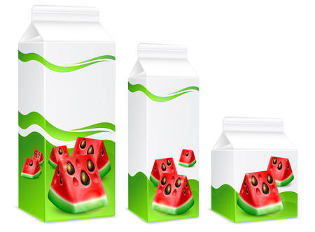 watermelon juice: Packing of watermelon juice on white, vector illustration