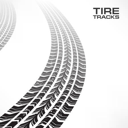 Detail black tire tracks on white, vector illustration Illustration