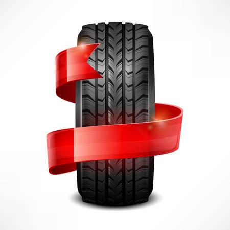 Black rubber tire   ribbon on white, vector illustration Stock Vector - 23112091
