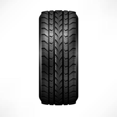 Black rubber tire on white background, vector illustration