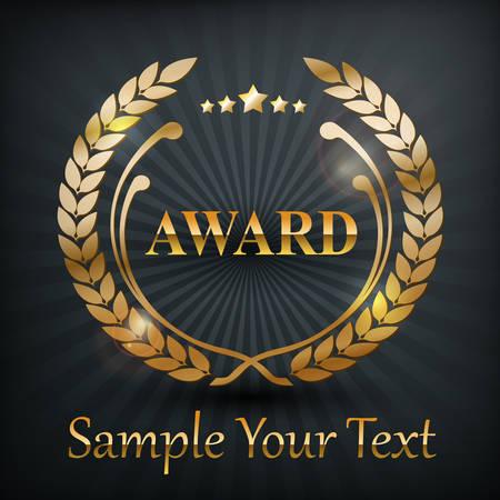 awards: Medalla de oro corona de laurel emblema, en negro, ilustraci�n vectorial