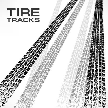 traces pneus: D�tail des traces de pneus noires sur fond blanc et le texte, illustration vectorielle