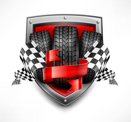 Racing symbols on shield, tires, ribbon and flags, vector illustration 向量圖像