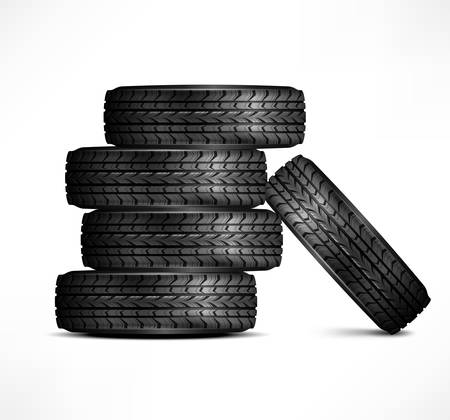Black rubber tires on white background, vector illustration Stock Vector - 23249980
