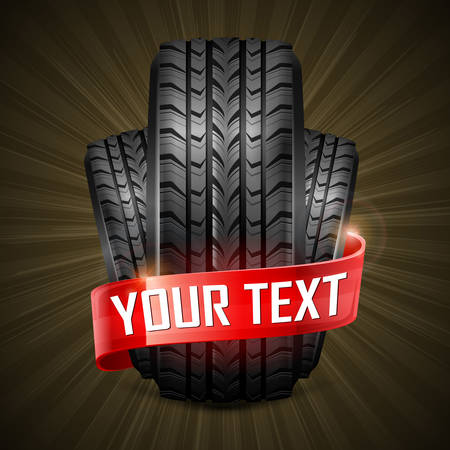 Black rubber tires & ribbon on black, vector illustration Stock Vector - 23659939